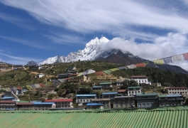 Thamserku as seen from a hotel in Namche Bazaar-min