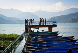 Boats on the Shore of Fewa Lake in Pokhara