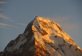 Sunlight on the peak of annapurna